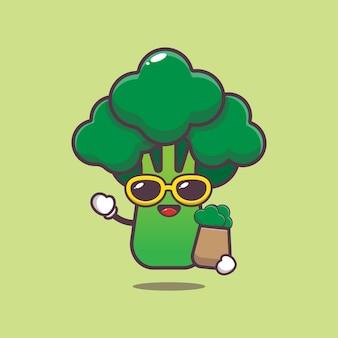 Cartoon schattige broccoli met boodschappentas