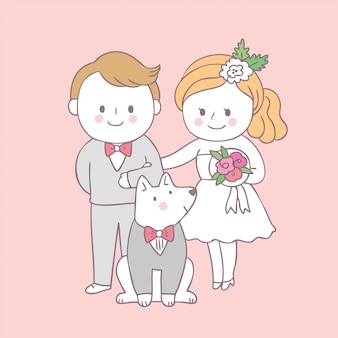 Cartoon schattige bruid en bruidegom en hond vector.