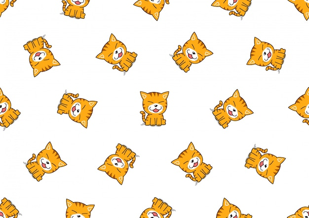Cartoon schattige cyperse kat naadloze patroon achtergrond