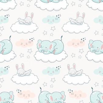 Cartoon schattige dieren naadloze patroon. olifant en konijn