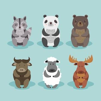 Cartoon schattige dieren set