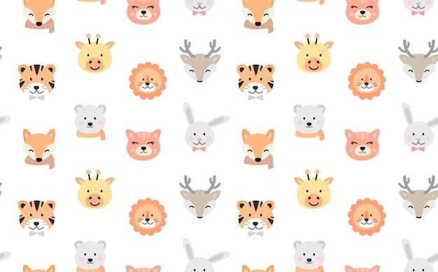 Cartoon schattige dieren voor baby naadloze patroon.