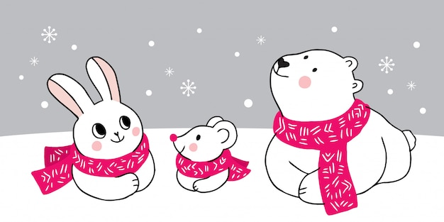 Cartoon schattige dieren winter