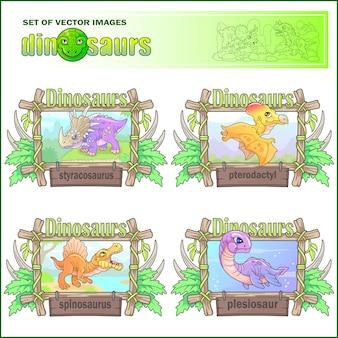 Cartoon schattige dinosaurussen, set van afbeeldingen