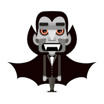 Cartoon schattige Dracula in een mantel