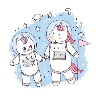 Cartoon schattige eenhoorn en kat astronaut in melkweg