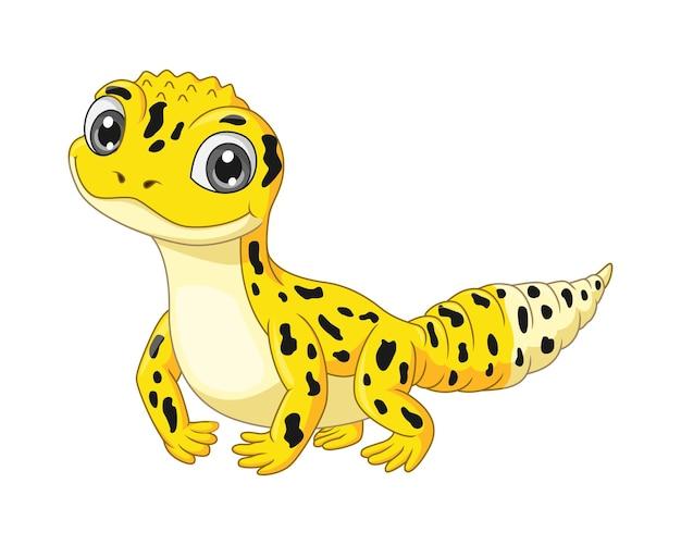 Cartoon schattige gele luipaardgekko