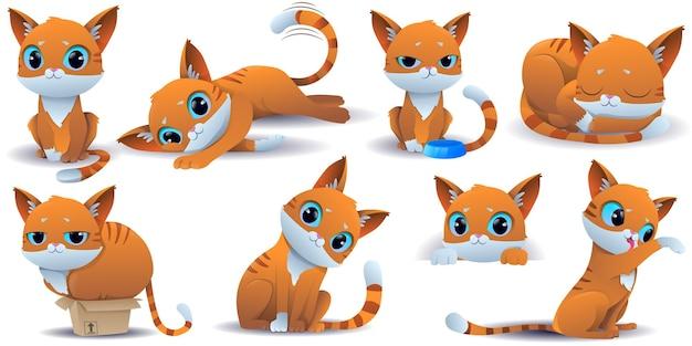 Cartoon schattige gember kat collectie