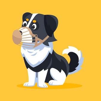 Cartoon schattige gemuilkorfde puppy