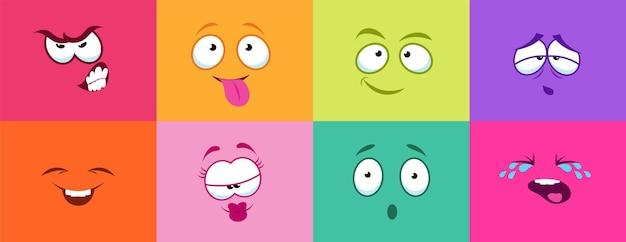 Cartoon schattige gezichten. monsterglimlach huilen boos, kleurrijke kaarten met smiley. stripfiguren voor kinderen vectorillustratie. karakteruitdrukking plezier, geluk emoticon en huilen