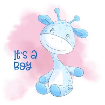 Cartoon schattige giraf jongen. vector illustratie