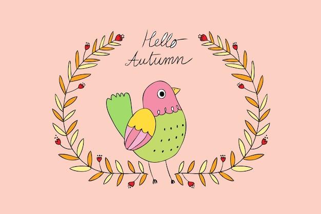 Cartoon schattige herfst vogel en frame vector.