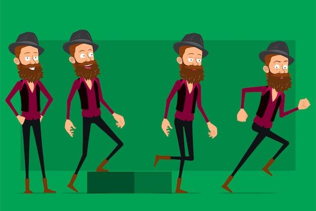 Cartoon schattige hipster jongen tekenset grote vector