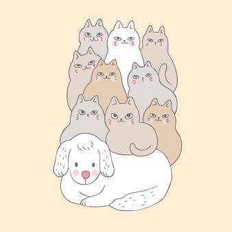 Cartoon schattige hond en katten.