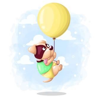 Cartoon schattige hond vliegen met ballon illustratie