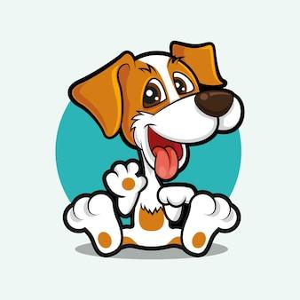 Cartoon schattige hond zwaaiende hand met tong uit
