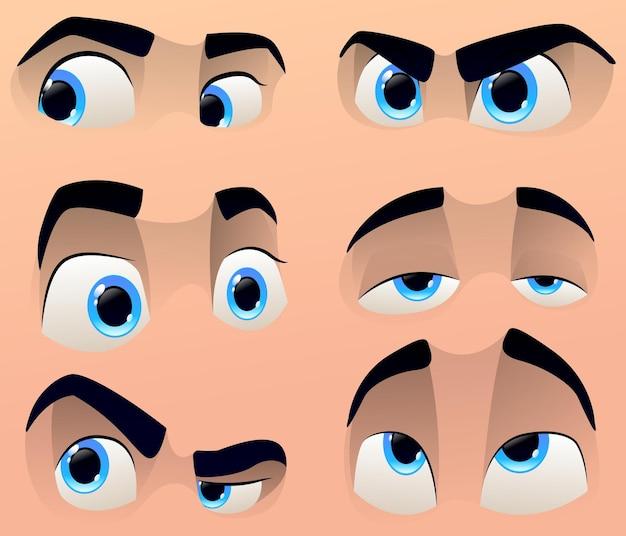 Cartoon schattige karakters ogen set