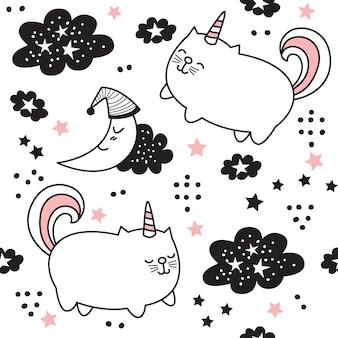 Cartoon schattige kat eenhoorn naadloze patroon