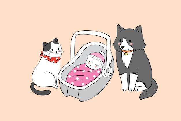 Cartoon schattige kat en hond en baby vector.