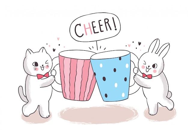 Cartoon schattige kat en konijn en kopje koffie