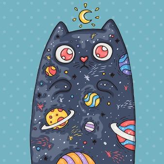 Cartoon schattige kat met het universum binnen. cartoon illustratie in komische trendy stijl.