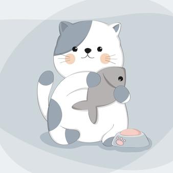 Cartoon schattige kat met vis schets dierlijke karakter
