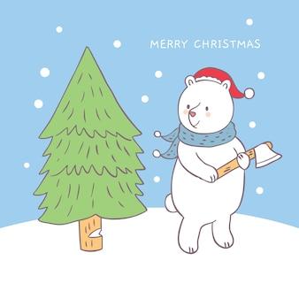 Cartoon schattige kerst beer snijden boom vector.