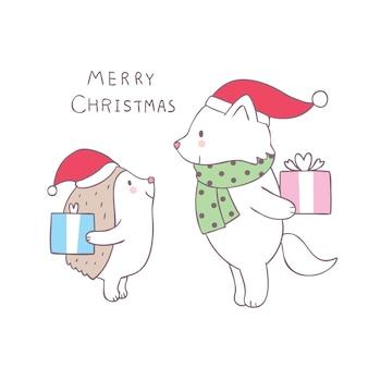 Cartoon schattige kerst egel en fox vector.