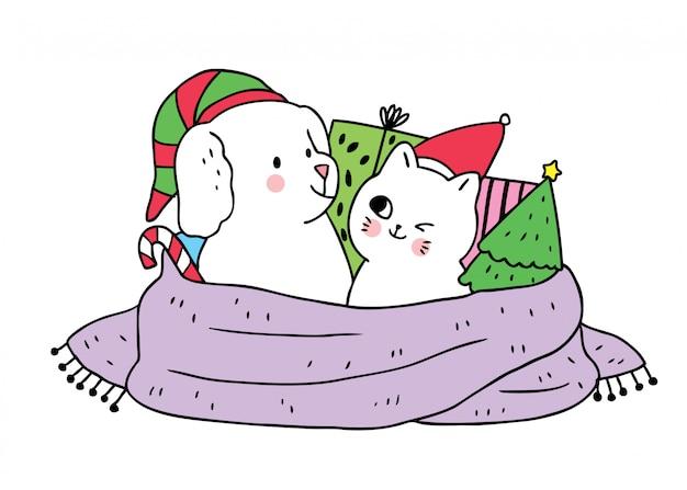 Cartoon schattige kerst hond en kat en geschenken