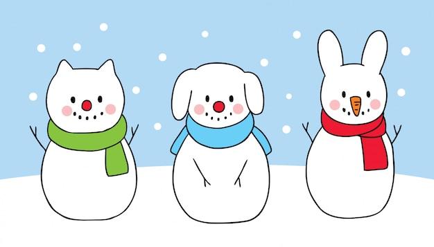 Cartoon schattige kerst hond en kat en konijn sneeuwpop