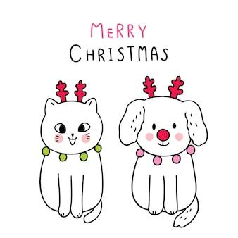 Cartoon schattige kerst hond en kat rendieren dragen.