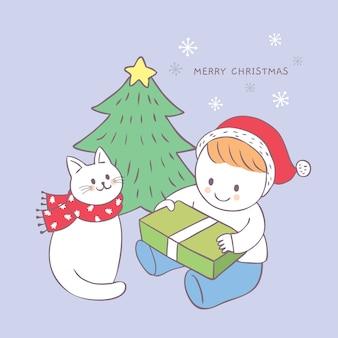 Cartoon schattige kerst jongen en kat open geschenk doos vector.