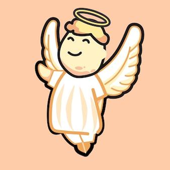 Cartoon schattige kerst jongen engel met blond haar vector illustratie