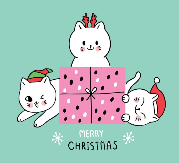 Cartoon schattige kerst katten en cadeau.