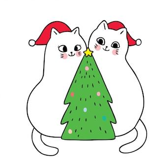 Cartoon schattige kerst katten en kerstboom.