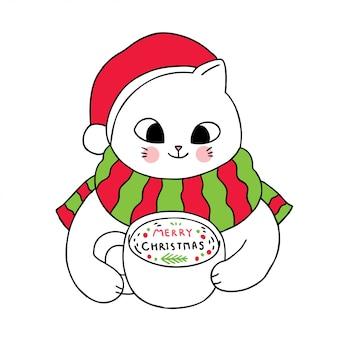 Cartoon schattige kerst katten koffie drinken.