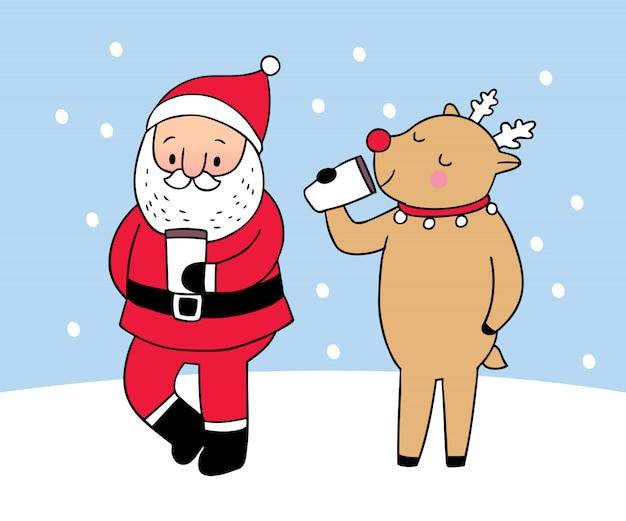 Cartoon schattige kerst kerstman en rendieren koffie drinken