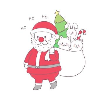 Cartoon schattige kerst santa claus en geschenk vector.