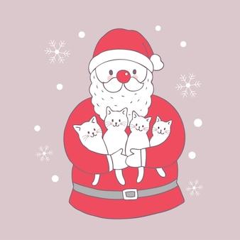 Cartoon schattige kerst santa claus en katten vector.