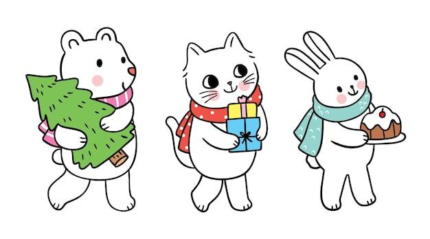 Cartoon schattige kerstdag beer kat en konijn vecor