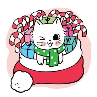 Cartoon schattige kerstdag kat en aanwezig in rode hoed vecor
