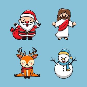 Cartoon schattige kerstdag tekens illustratie