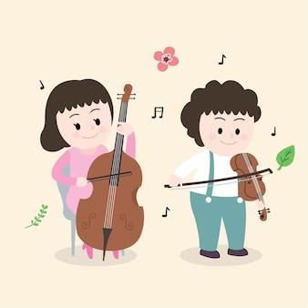 Cartoon schattige kinderen spelen muziek vector.
