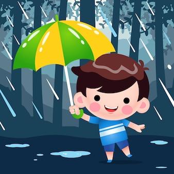 Cartoon schattige kleine jongen verstopt onder een paraplu tijdens het regenweer