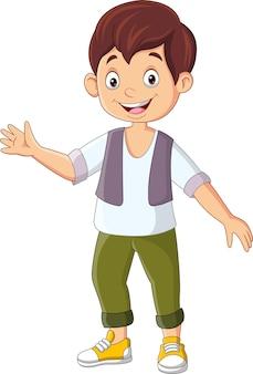 Cartoon schattige kleine jongen zwaaiende hand