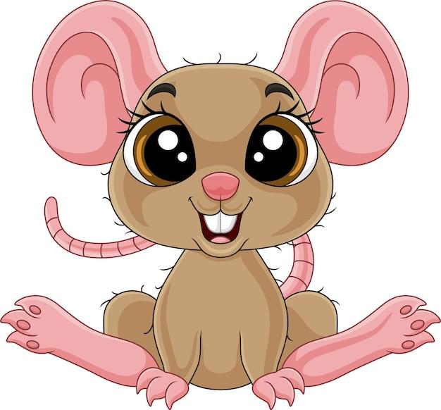 Cartoon schattige kleine muis zittend