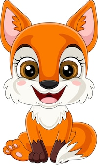 Cartoon schattige kleine vos zittend