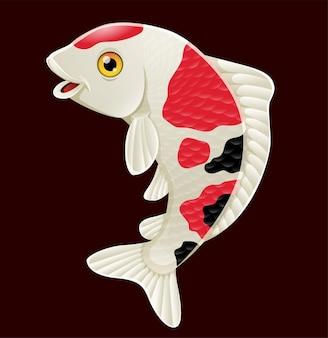 Cartoon schattige koi vissen op zwart