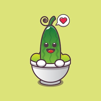 Cartoon schattige komkommer in slakom