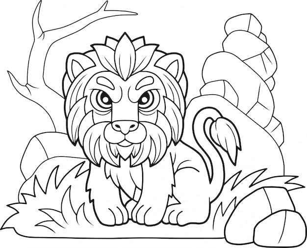 Cartoon schattige leeuw
